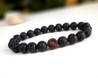 Lava and Titanium bracelet, Lava bracelet, Titanium druzy bracelet,Stackable bracelet,Strength and courage bracelet, Beaded stretch bracelet