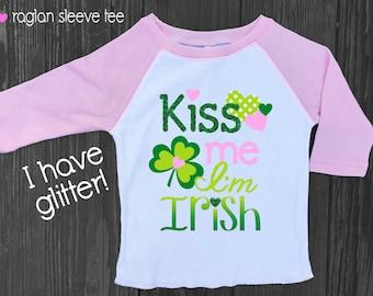 Girls Kiss Me Im Irish Top St Patricks Day Shirt Kiss Me I'm Irish Raglan Sleeve Top for Baby Girl or Toddler Girl