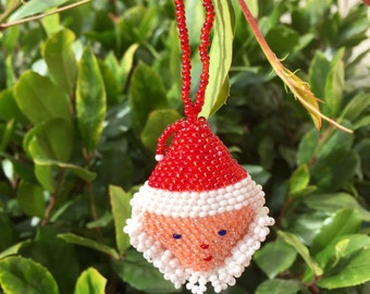 Set of Two: Large Seed Bead Santa Head Ornaments Guatemala (019O)