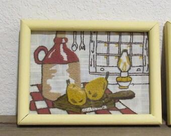 2 Vintage Needlepoint, Kitchen Decor, Yellow frames with glass