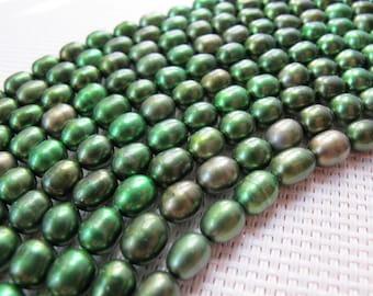 7-8mm Metallic Green Freshwater Rice Pearl PL112