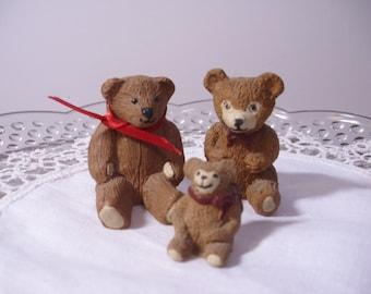 Three Vintage Resin Bears, Resin Bears, Resin Teddy Bear, Resin Figurine, Resin Animal,  Mniature Bear, Miniature Teddy Bear