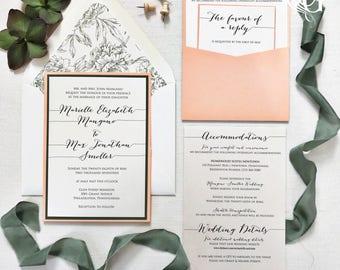 Peach Wedding Invitation Set - Pocket Wedding Invitation - Whimsical Wedding Invitation