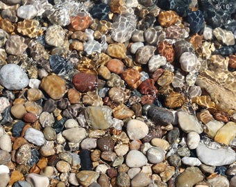 Pebbles art print, pebble beach photography, paper or canvas picture, Lake Michigan stones rocks photo wall decor 8x10 11x14 16x20 24x36