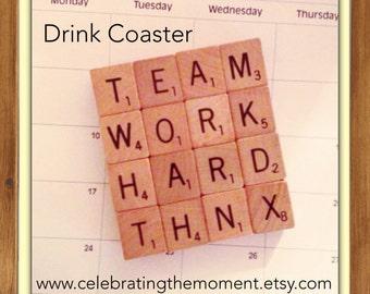 Employee Gift, TEAM WORK, Drink Coaster, Employee Appreciation gift, free customization, coworker gift, office gift