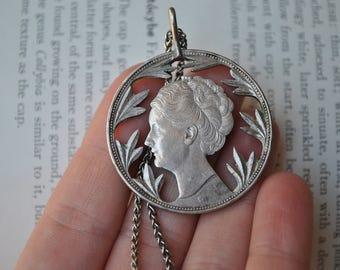 Vintage Sterling Silver Coin, Lovers Token - 1940s Currency Pendant Queen Wilhelmina Netherlands