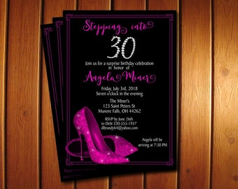 Hot Pink Glitter Shoes Birthday Invitation • High Heel Shoes Invite • Printable Adult Birthday Party Invitation