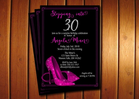Hot Pink Glitter Shoes Birthday Invitation High Heel Shoes Invite