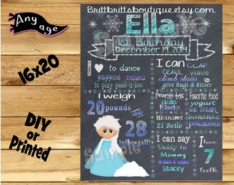 First Birthday Chalkboard girl 1st birthday ice princess chalk board photo prop customized first birthday poster digital file or printed