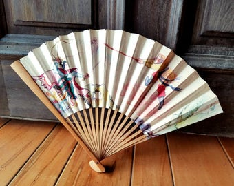 Vintage Asian Paper Fan from the 1970s