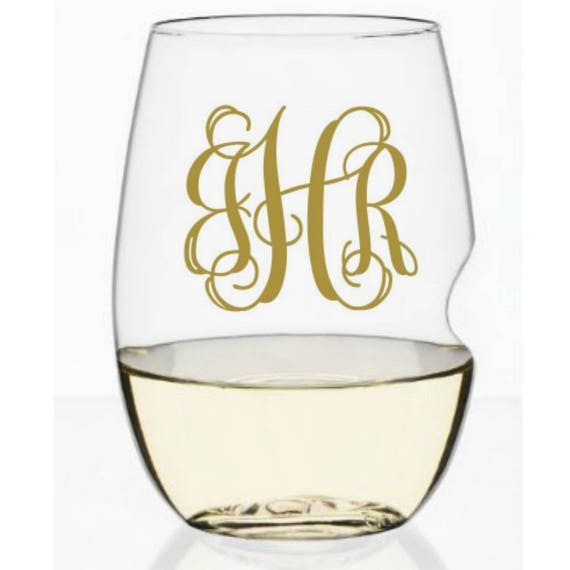 Personalized wine glass Shatterproof wine glass monogram champagnegovino flute wine glass bridal party gift wedding day toast