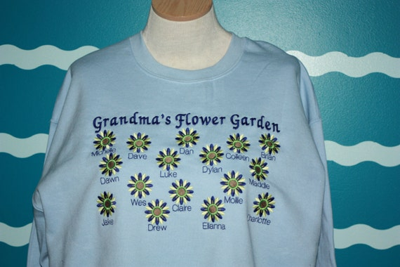 Custom Embroidered grandparent sweatshirt - Gigi's flower garden crew sweatshirt - grandpa, gammie, gigi, PopPop, granny, poppy sweatshirt