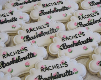 Bachelorette Party Cookies with Roses, Wedding Bridal Shower Cookie Favors, Birthday Party, Personalized, Custom Cookies