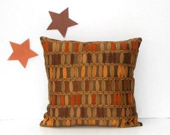 brown accent pillow 18x18 taupe orange gold throw pillows sofa 18 x 18 cushion