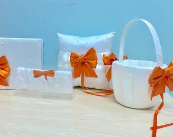 Orange, ivory and pearl wedding set