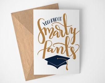 Smarty Pants Card - Nerd Graduation Card - Happy Graduation Card - Proud of You Card - You Did it Card - Good Job Card - You Are Smart Card