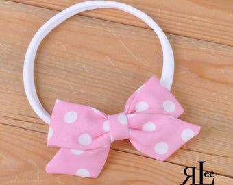 Pink Dot Bow - Folded Sailor Bow - Hair Bow - Sailor Headband - Clip