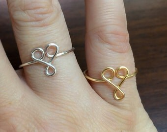 Heart Ring, dainty heart ring  abstract heart ring, Knuckle rings, love ring, heart, adjustable ring, wire letters, heart jewelry, gift