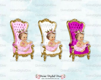 Baby Throne Chair Fuchsia White Pink Gold | Caucasian Ballerina Princess Brunette Hair Crown Tutu  | Clipart Instant Download