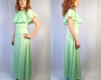 Vintage Mint Green Ruffled Maxi Gown Floor Length Dress XS/S