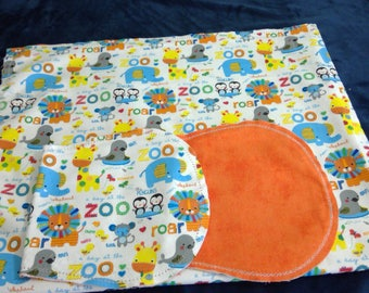 Zoo Animals with Orange Backing Hemstitched Baby Blanket and Burps ready for you to crochet by Lindas Hemstitching