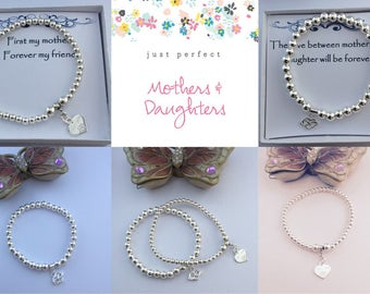 Mother & Daughter  - Sterling Silver bead heart Bracelets