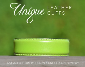Skinny lime green leather cuff, unique leather cuffs, Love Squared Designs