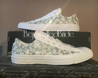 Wedding Converse with crystal & pearl sides, added Swarovski. All sizes available