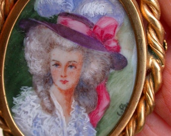 french antique large hand painted  painting miniature signed art nouveau woman brooch gold gilt bronze ornate frame antique france