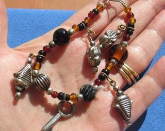 Retro Beaded Metal Charm Bracelet