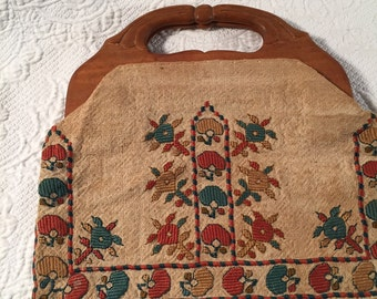 Wood handle embroidered purse