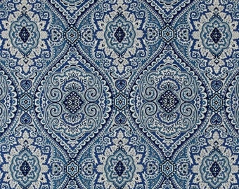 Damask Blue Window Treatment Curtain Rod Pocket Draperies Blue and Ivory Curtains