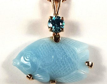 Blue Chalcodony Carved Fish 14k Pendant with Blue Zircon