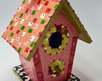 Colorful Pink and Coral  Flower Washi Wooden Birdhouse Ornament