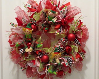 Deco Mesh Christmas Wreath, Red Green Elves, Whimsical Elf Wreath, Ruffles & Ribbons, Front Door Wreath