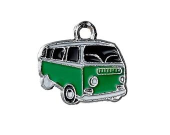 5 Vintage Style VAN Charms - VW Bus Look - Car Green Black - Enamel Charms 20 x 18 mm
