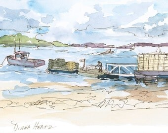 LOBSTER BOATS. Charming view of classic Maine. Giclée fine art prints of watercolor & ink painting  by Maine artist Diana Hertz.