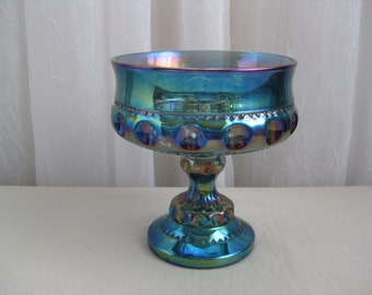 Vintage 1960's Kings Crown Blue Carnival Glass Compote Footed Dish Colony