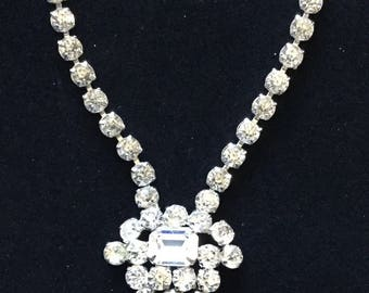 Vintage Jay Flex Sterling and Rhinestone Necklace and Earrings
