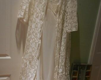 Vintage Glydons Hollywood Peignoir Bridal Set 1960's Cream colored Lace & Sheer Slip Mermaid Hem ON SALE