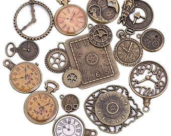 ABPack001 - Pack of 15 Vintage Victorian Styled Steampunk Decorative Clock Jewelry Charms and Embellishment in Antique Bronze/Brass Finish