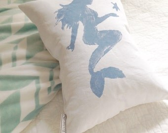 MERMAID Pillow - mermaid nursery decor, mermaid decor, mermaid silhouette, girls beach room decor