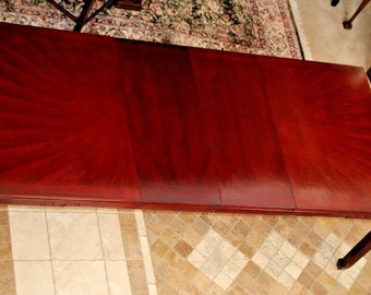 Large  Red Mahogany Chinese Asian Influenced Style Dining Room Table 2 Leafs Insured safe Nation Wide Shipping Available