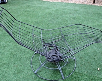 RARE Mid Century Black Iron Chaise Lounge Chair Outdoor Lounger Spins Rocking Insured Safe Nationwide shipping available