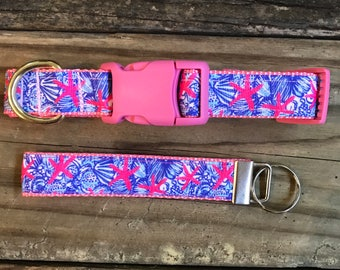 Lilly Pulitzer Inspired Dog  Collar With Matching Key Fob