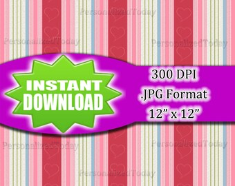 Vertical Stripes With Hearts Digital Scrapbook File - 300 DPI - JPG File Format - 12x12 - High Resolution - INSTANT Digital Download - 0046