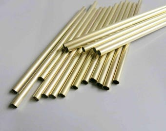 100pcs Cut Raw Brass Tube Cylinder Shape Beads 60mm x 3mm - F301