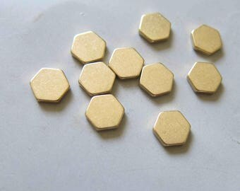 50pcs Raw Brass Hexagon Stamping Blank,Stamping Tag 10mm - F430