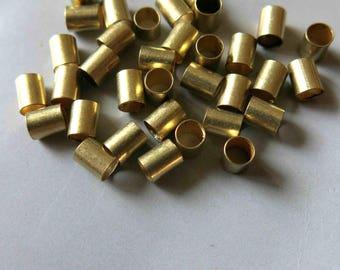 300pcs Cut Raw Brass Tube Cylinder Shape Beads 5mm x 4mm - F503