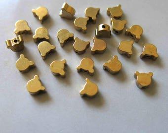 100pcs Raw Brass Little Bear Beads Spacer Beads 6mm x 5mm - F514